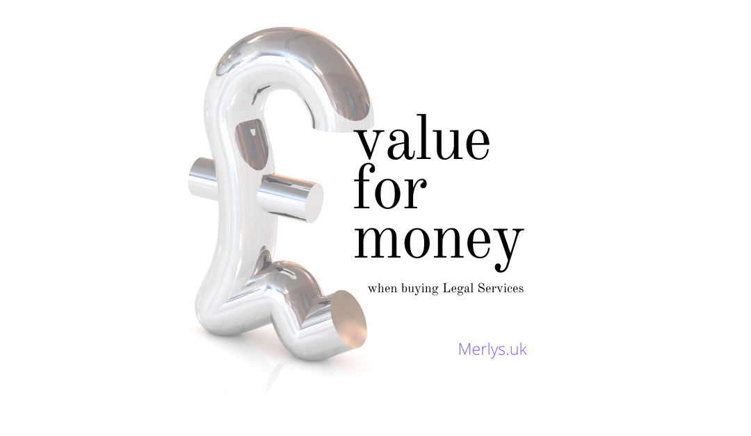 Pound Sign Sitting with value for money when buying legal services text